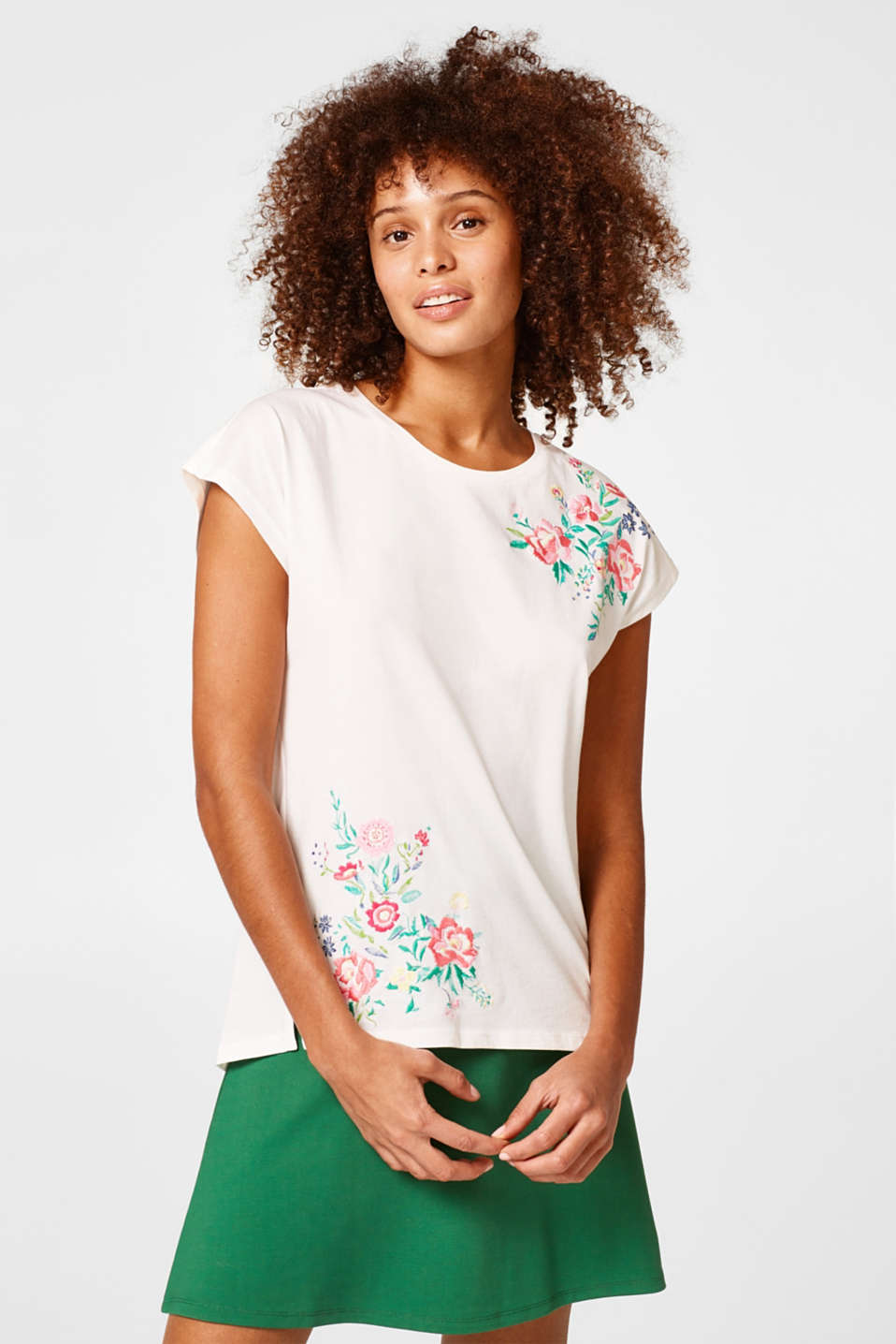 Esprit - Top with floral embroidery, 100% cotton