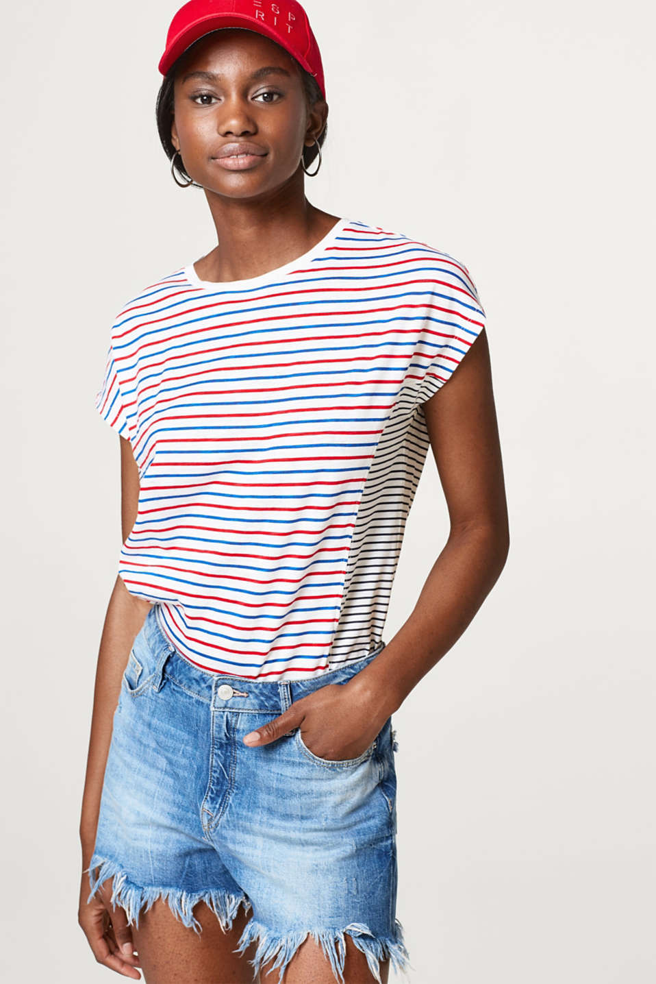 Esprit - Mixed stripe slub tee, 100% cotton