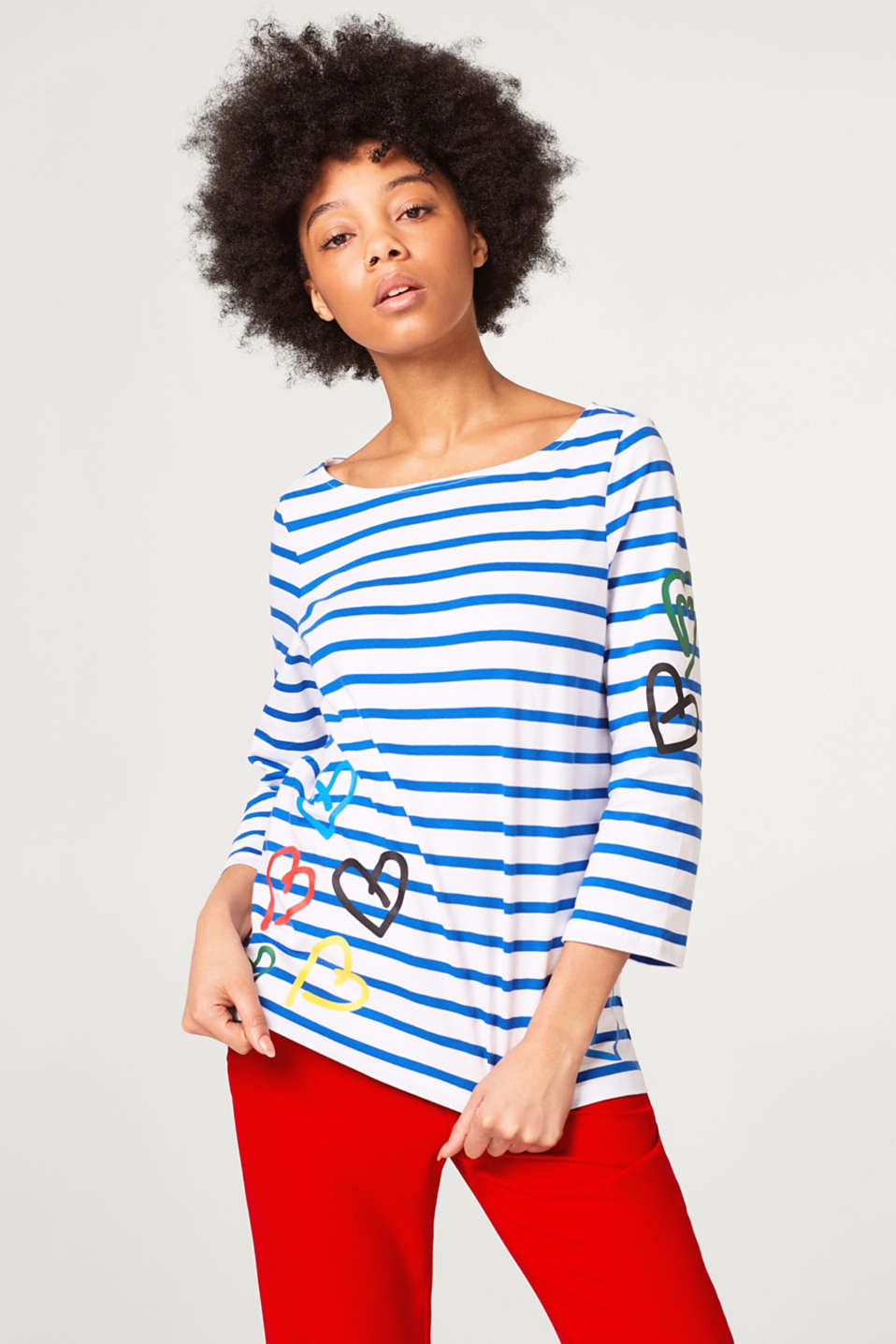 Esprit - Jersey long sleeve top with stripes and a heart print