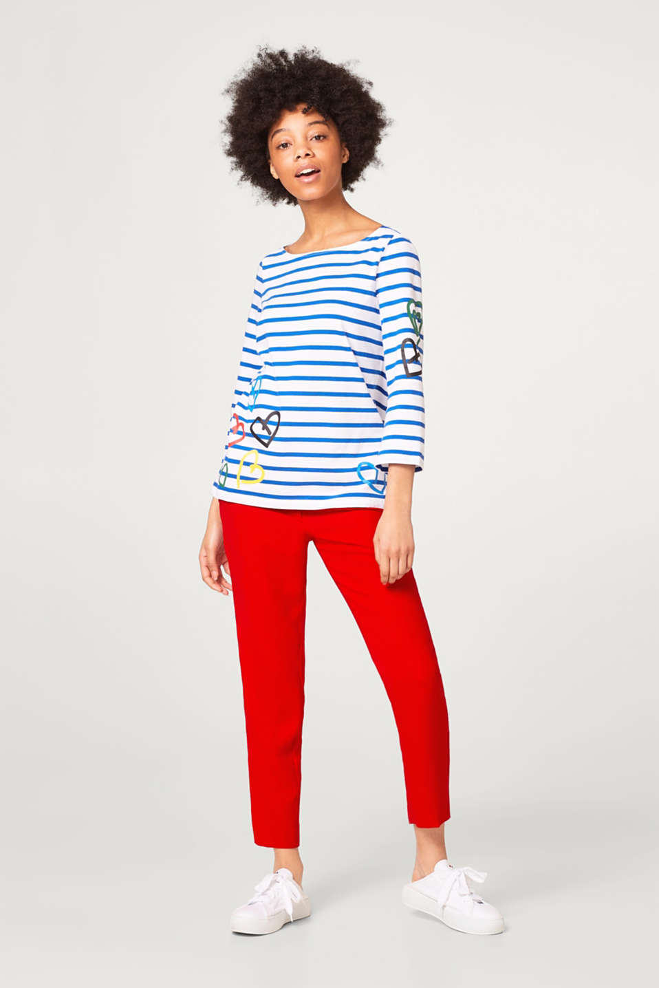 Jersey long sleeve top with stripes and a heart print