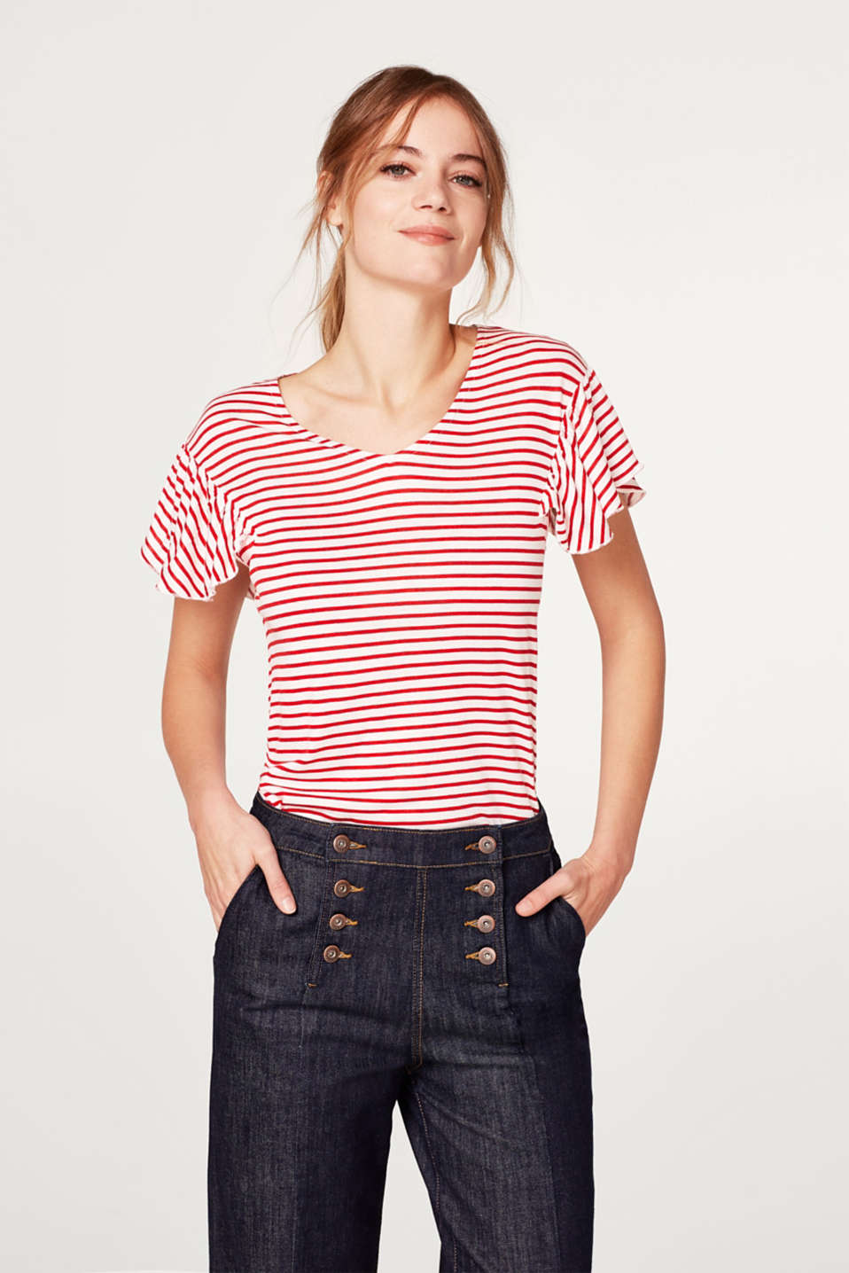 Esprit - Striped T-shirt with frilled sleeves