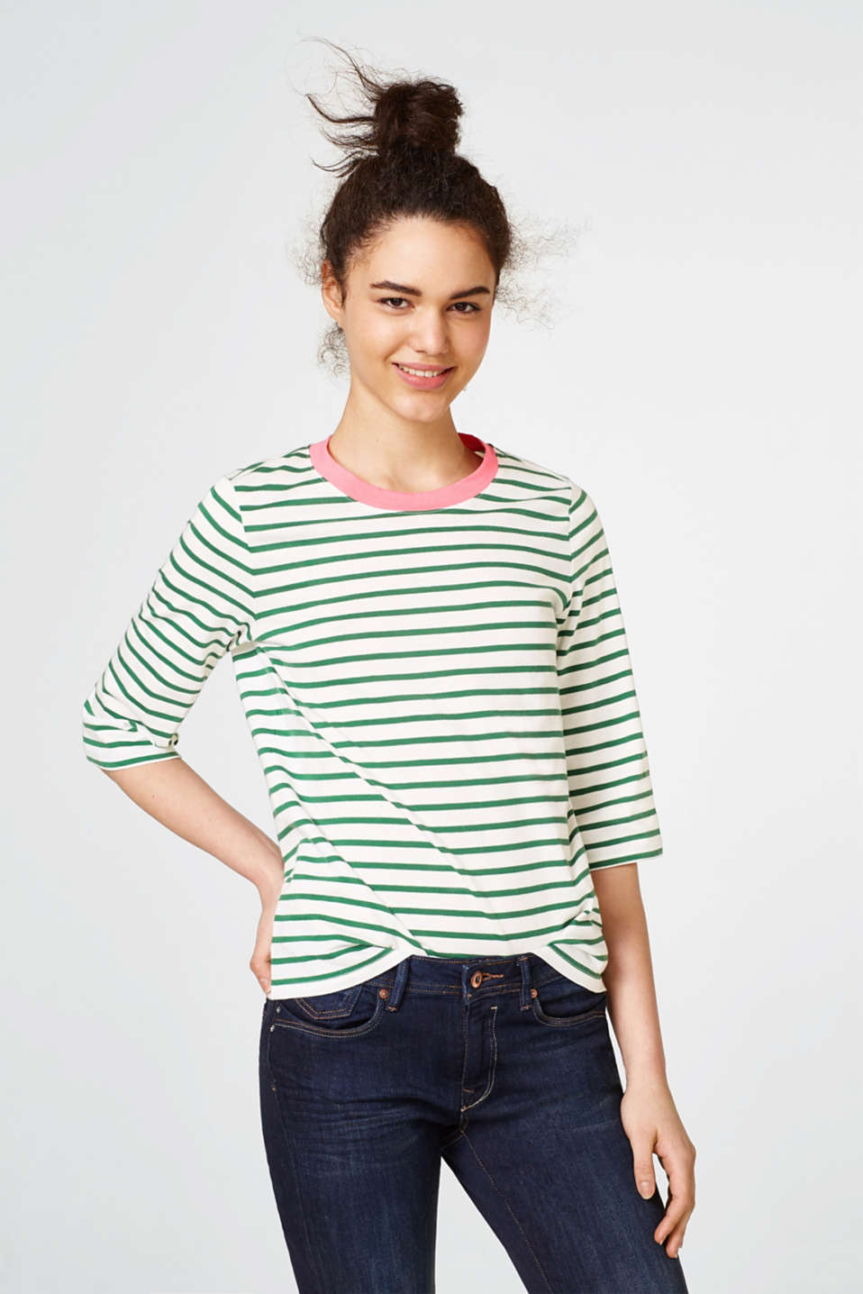 Esprit - Top with contrasting trim, 100% cotton