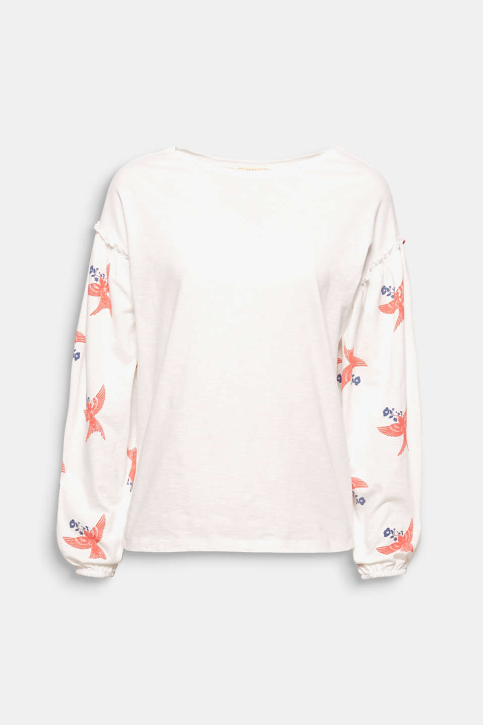 The trendy balloon sleeves are strikingly emphasised by the lightly rubber-coated bird print on this slub, long sleeve top!