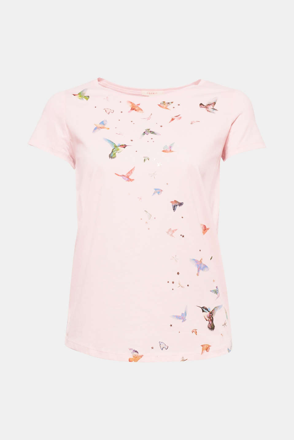 Let`s fly away! The combination of the bird print and glitter stars makes this T-shirt a head-turner.