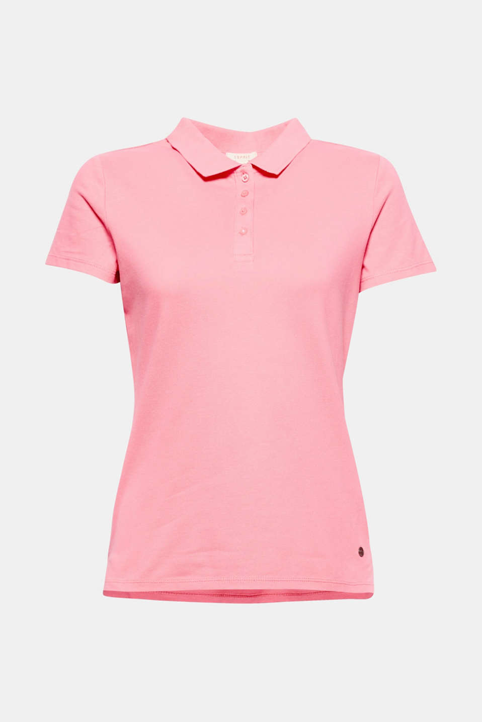 Sporty classic: This fitted polo shirt made of soft stretch piqué has a long button placket and hem slits.