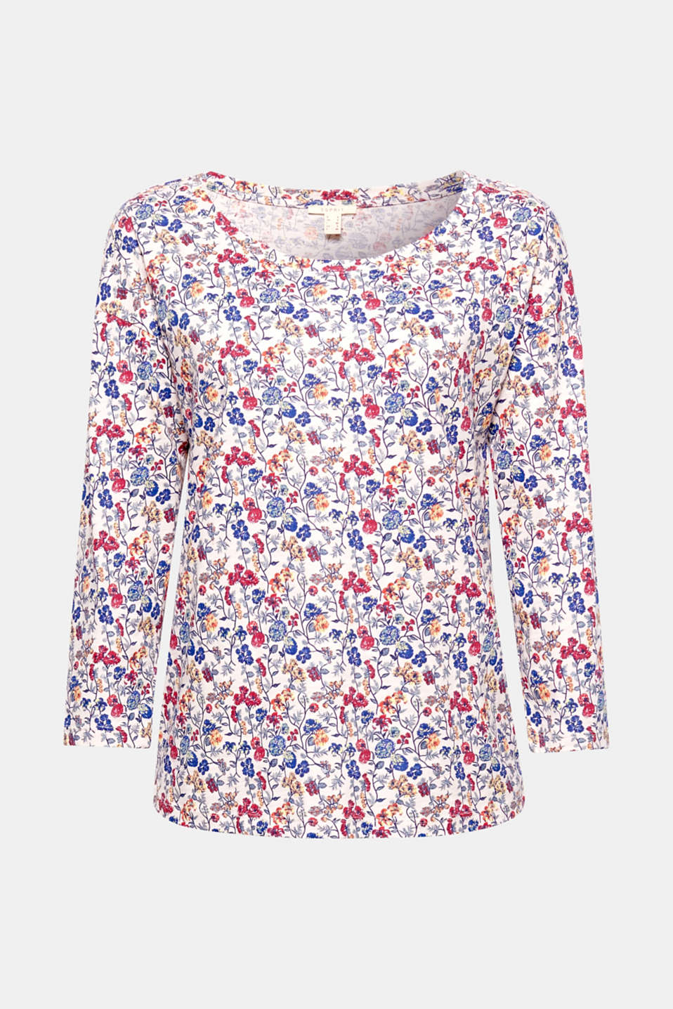 This is how spring looks: bright florals, litter effects and new cuts such as on this great cotton T-shirt!