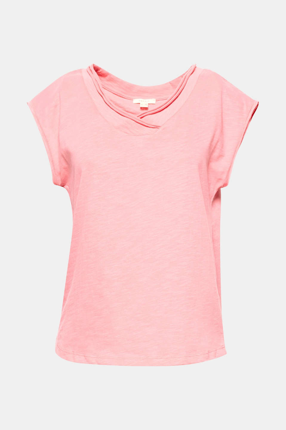 This short, boxy cotton t-shirt is light and airy with open edged seams and a fashionable v-neckline!