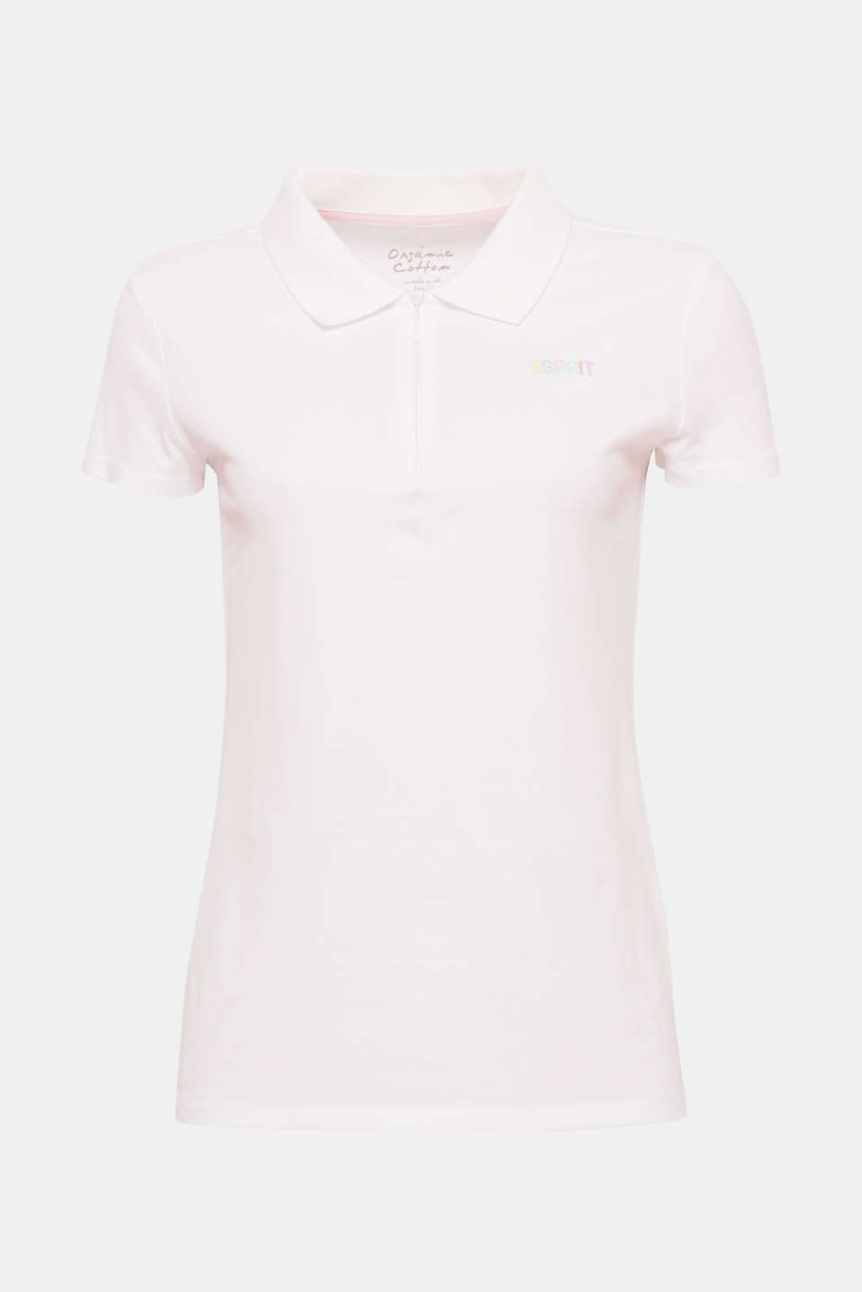 Sporty basic: this fitted polo shirt made of soft stretch cotton comes with a short zip.