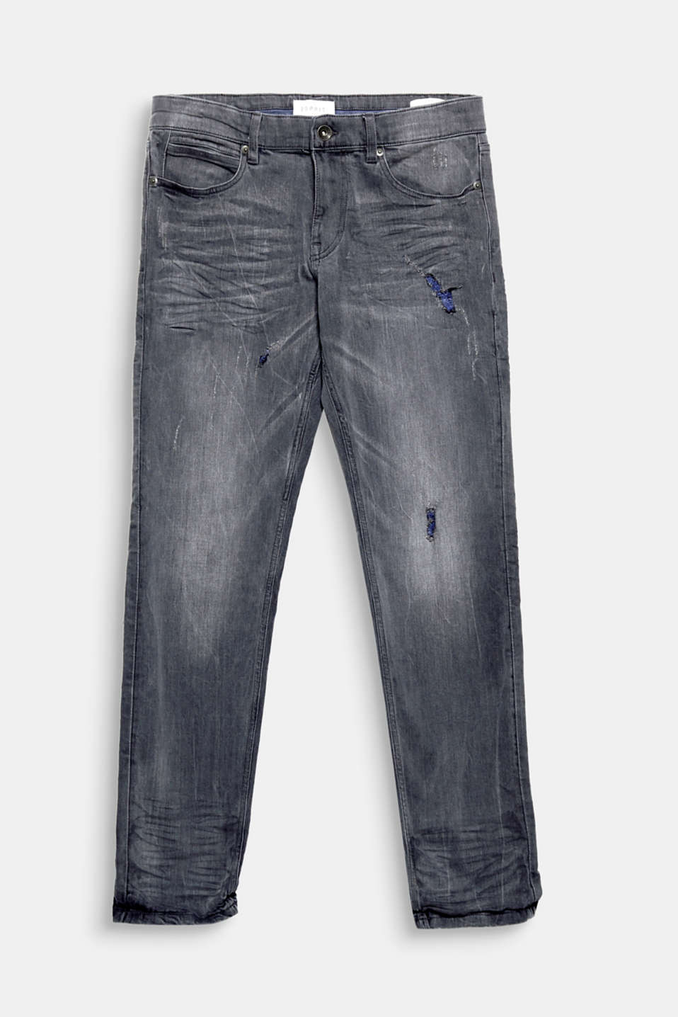 The contrasting colour, destroyed detailing makes these jeans extremely eye-catching.