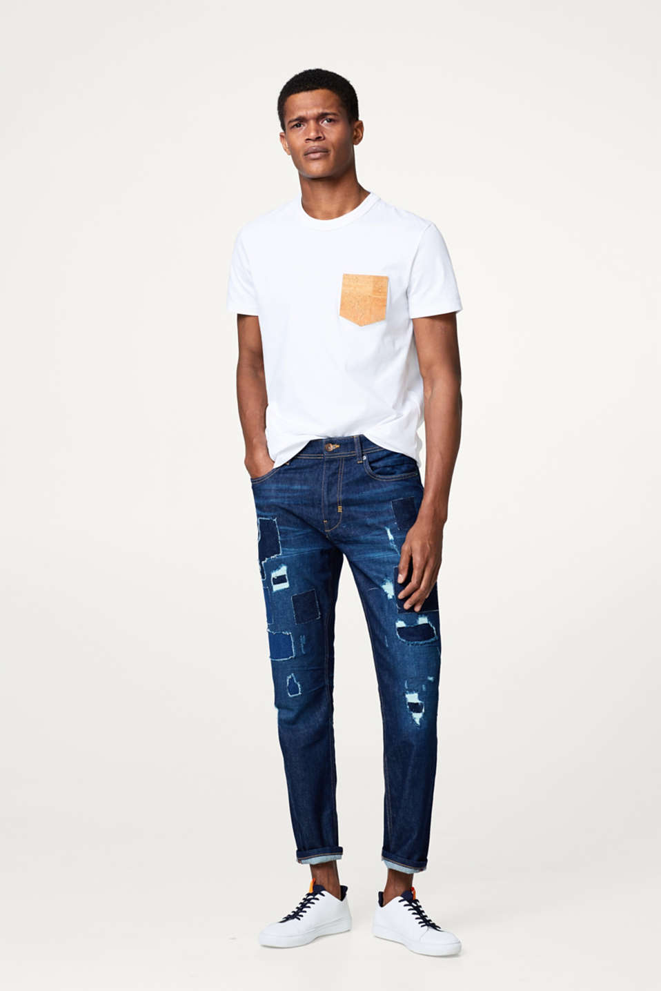 Esprit - Patchwork jeans in a destroyed look