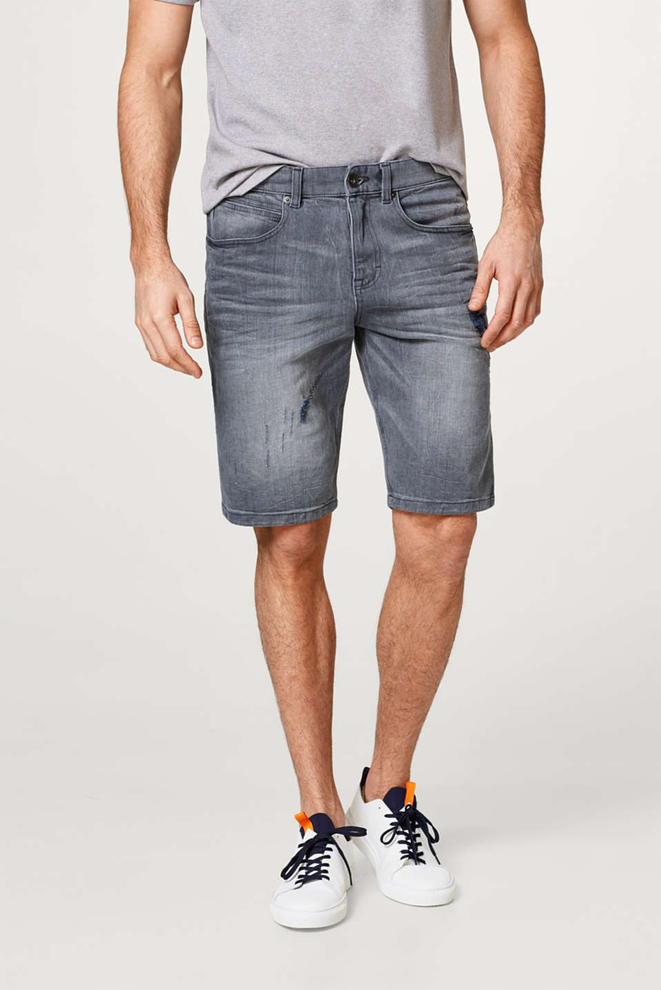 Esprit - Denim short met stretch en destroyed effecten