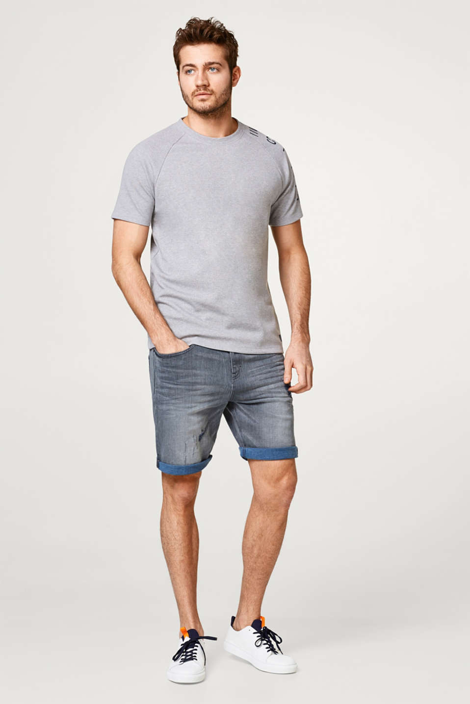 Denim short met stretch en destroyed effecten