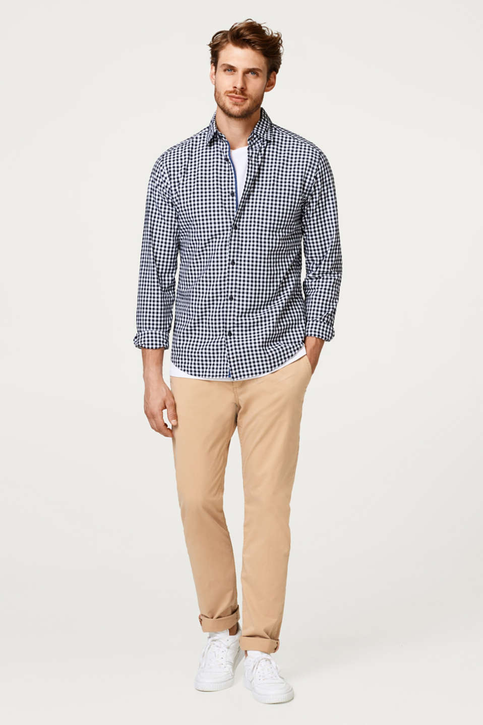 Lightweight check shirt in smooth cotton fabric