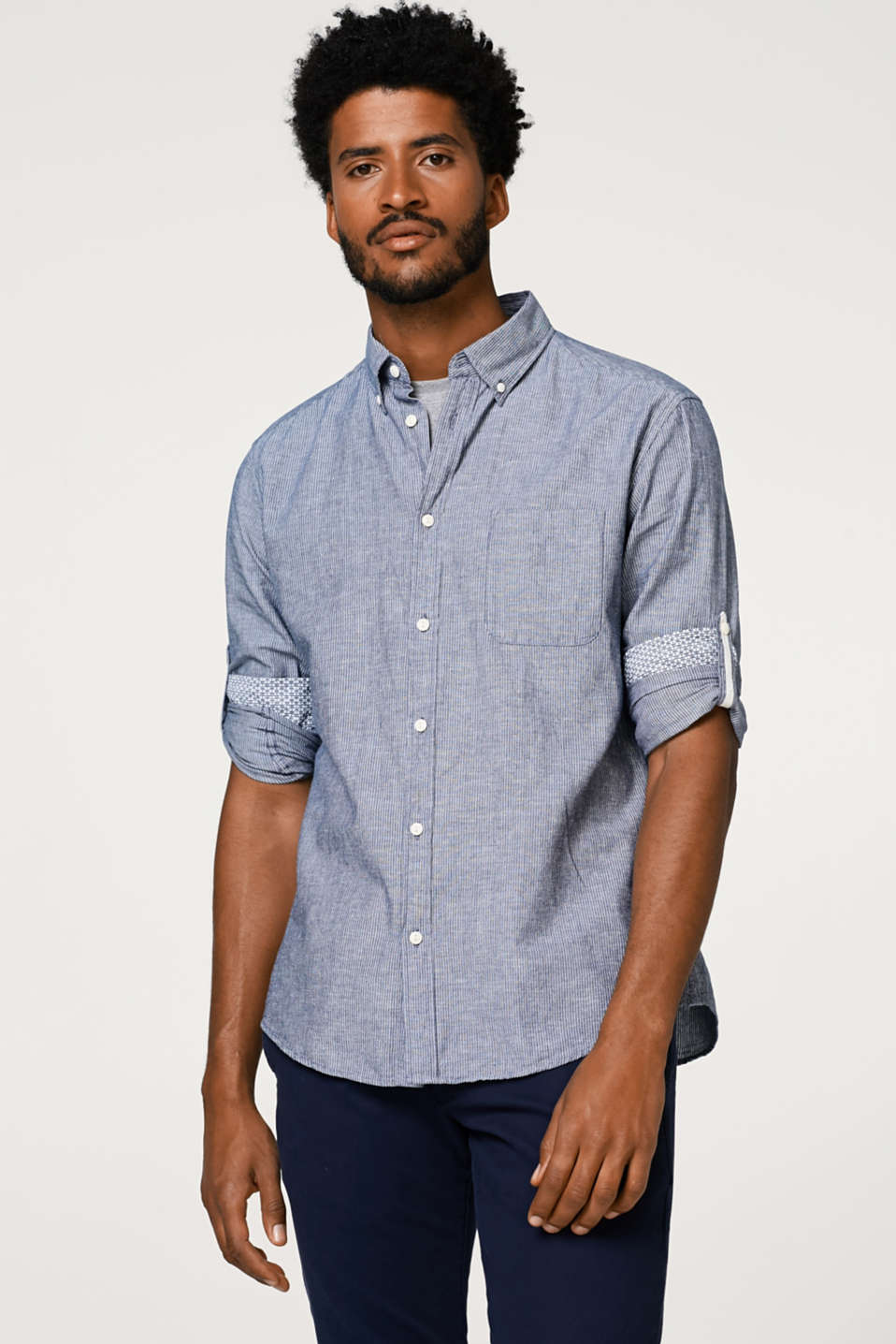 Esprit - Linen blend: shirt with turn--up sleeves