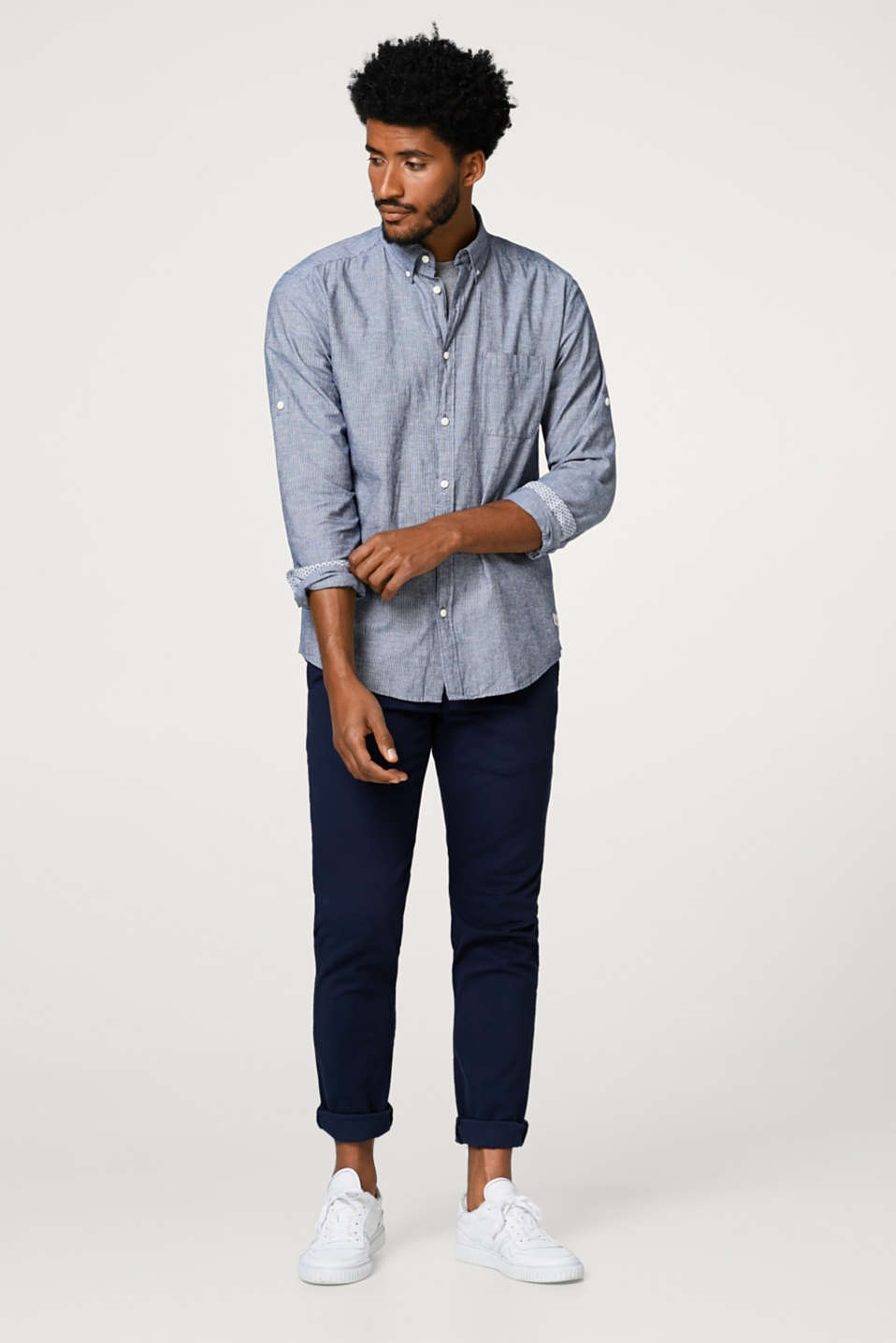 Linen blend: shirt with turn--up sleeves