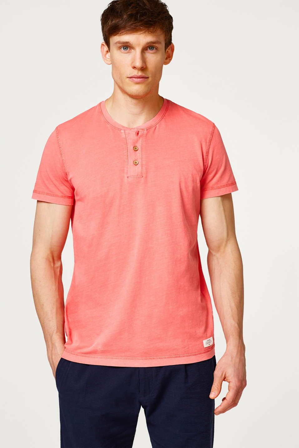 Esprit - Cotton jersey Henley T-shirt