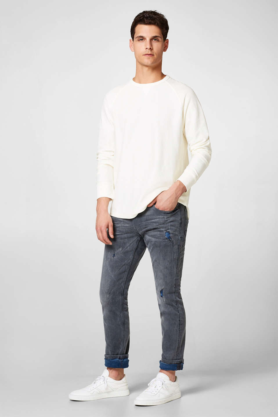Esprit - Pull-over finement texturé en pur coton