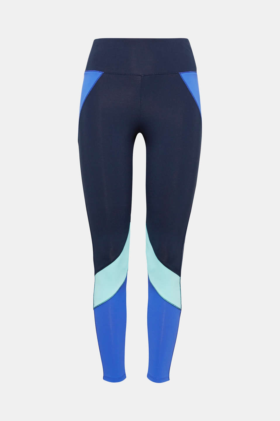Your workout will take care of itself in these active leggings with an E-DRY finish, blue accents and a logo!