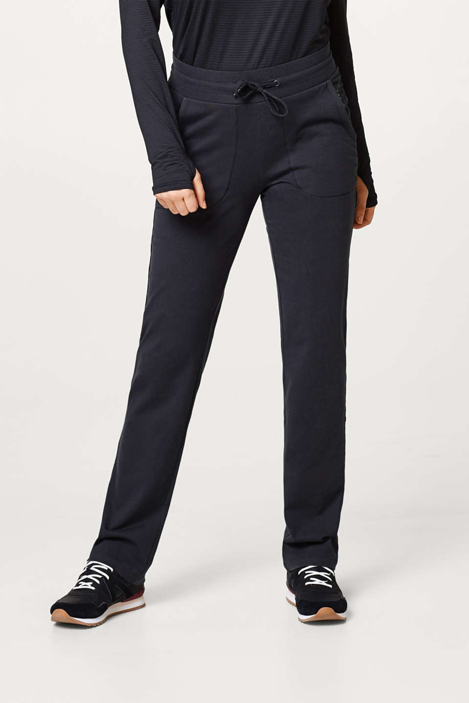 Esprit - Soft jersey trousers with a straight leg