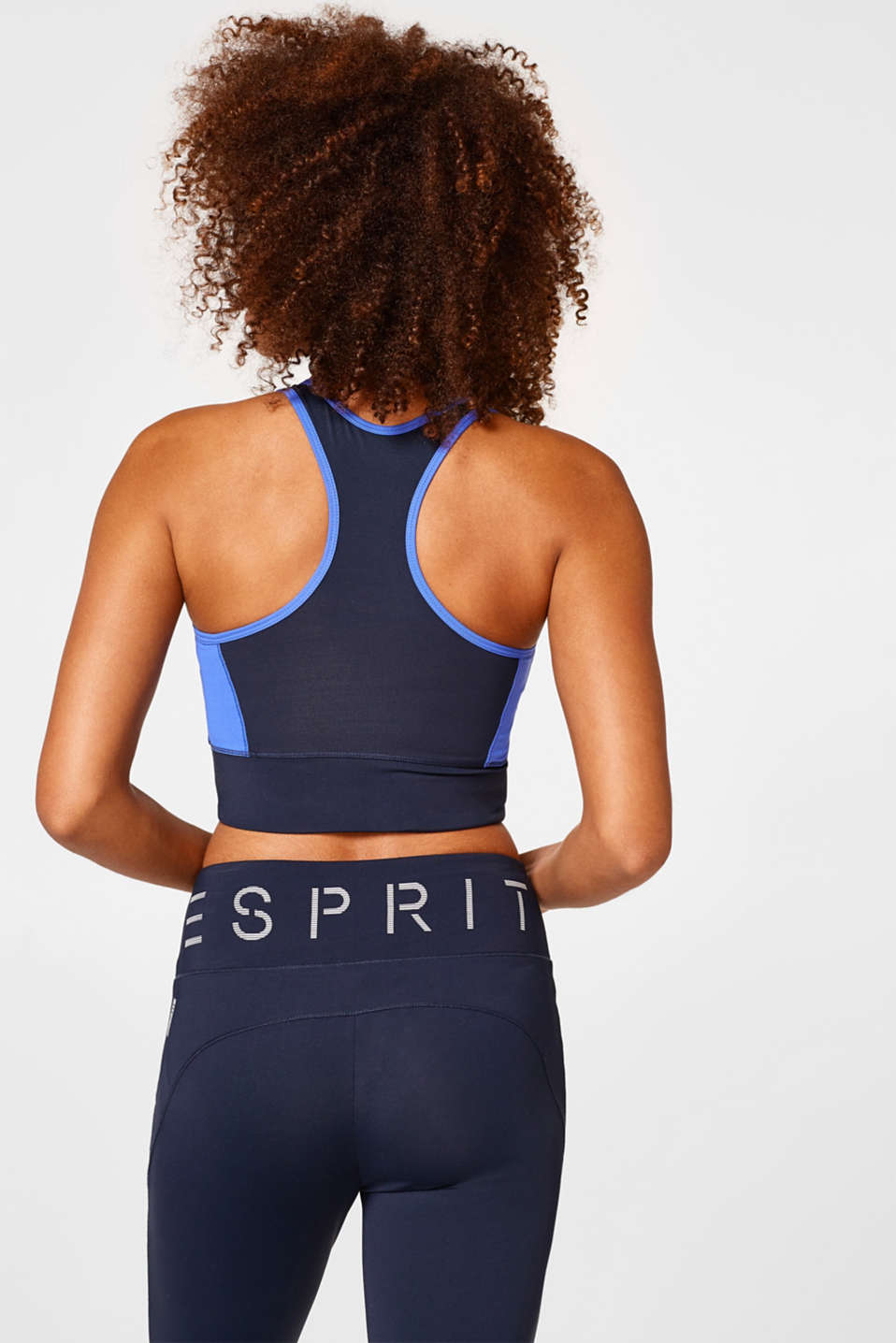 Sports bra + elasticated logo hem, E-DRY
