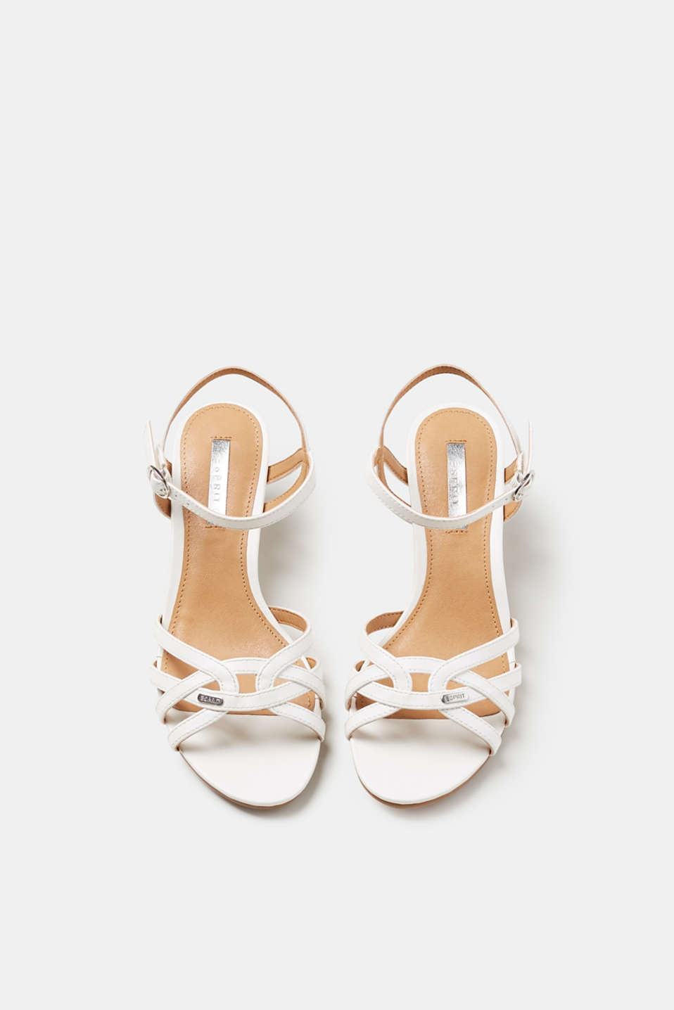 Sandals with a funnel heel, in faux leather