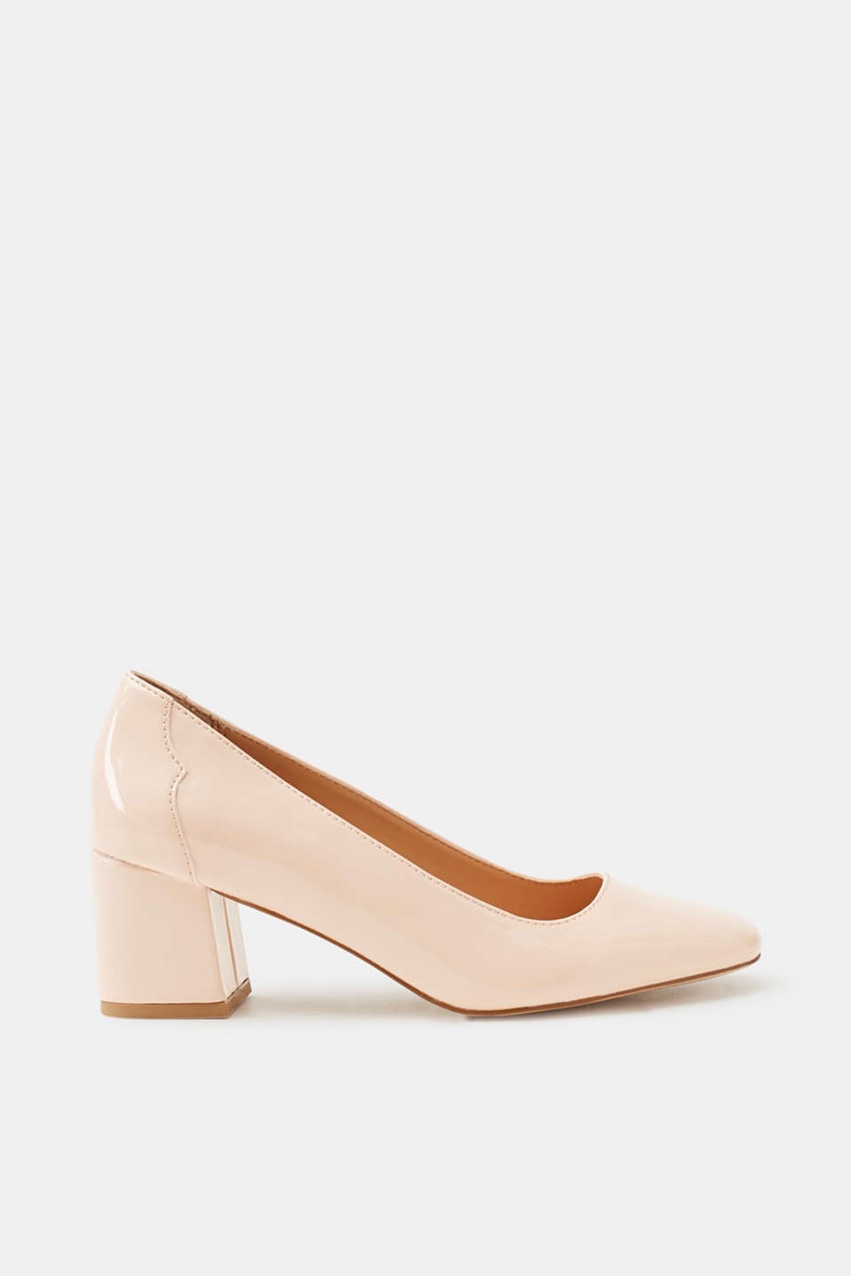 Esprit - Patent leather court shoes with a block heel, producing using a vegan manufacturing process