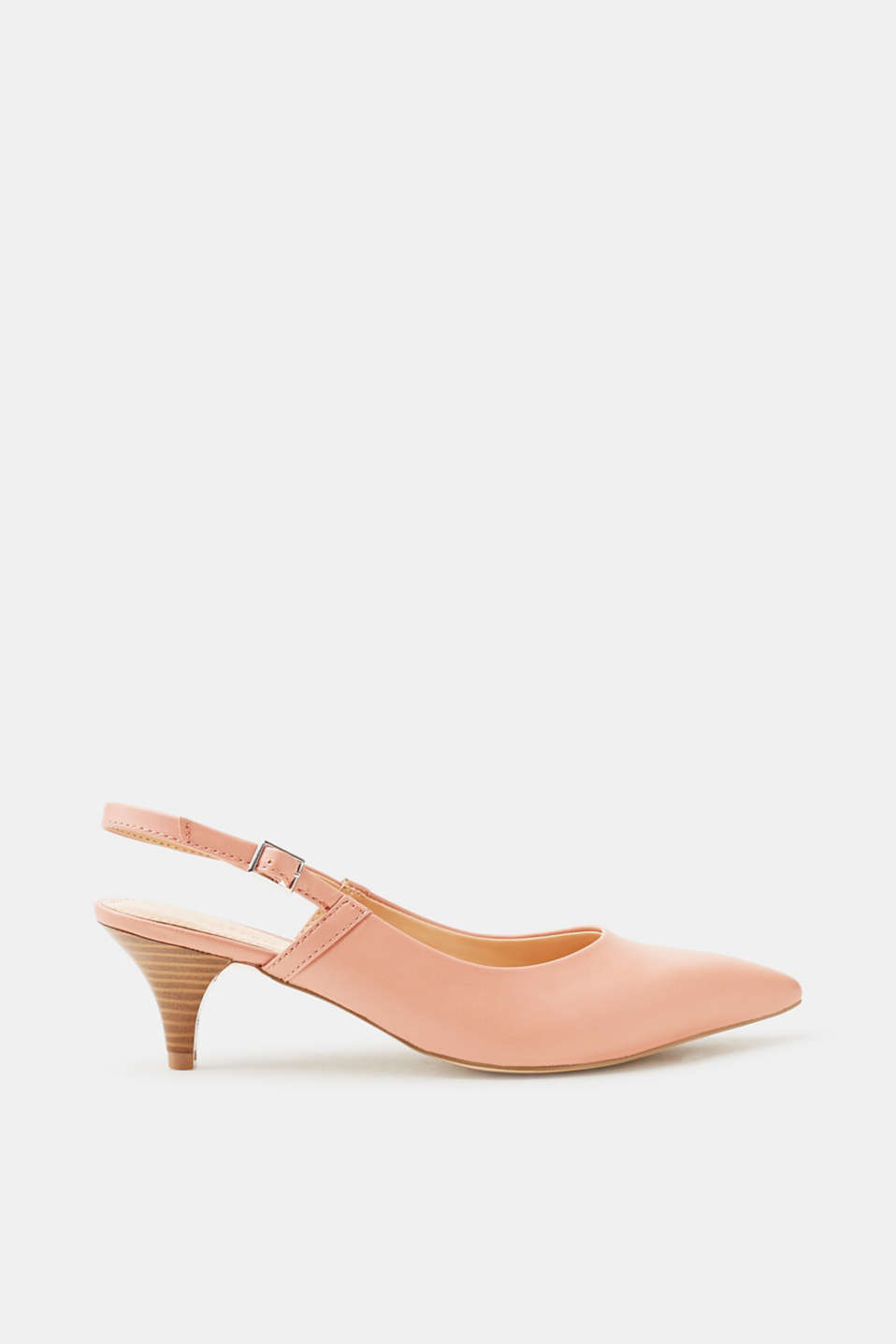 Esprit Slingback-Pumps in glatter Leder-Optik für Damen, Größe 41, Blush