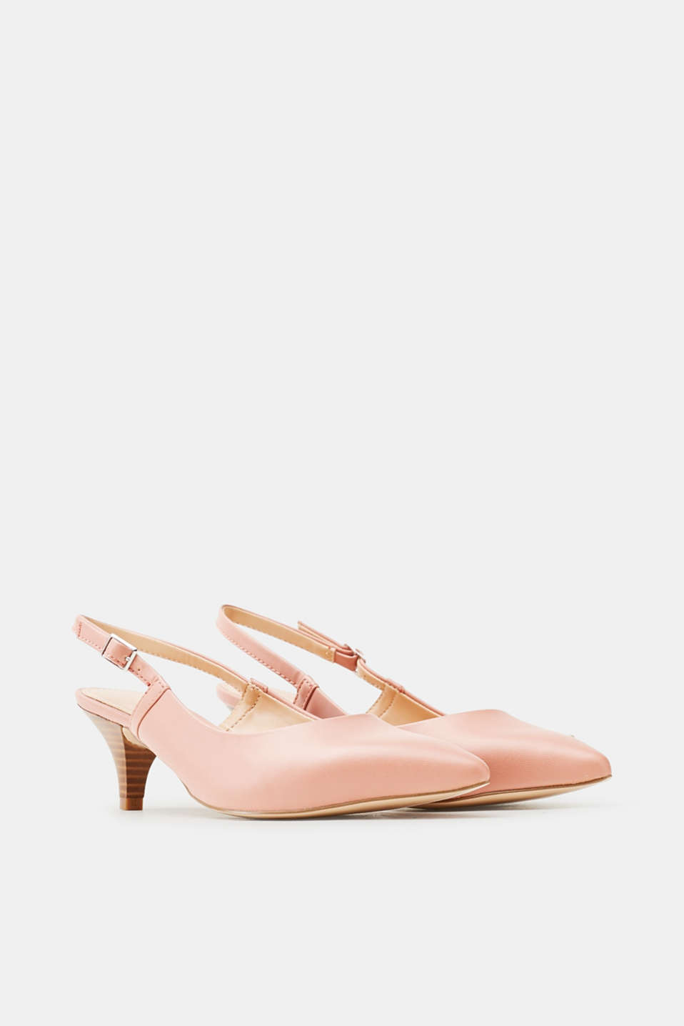Slingback court shoes, smooth faux leather