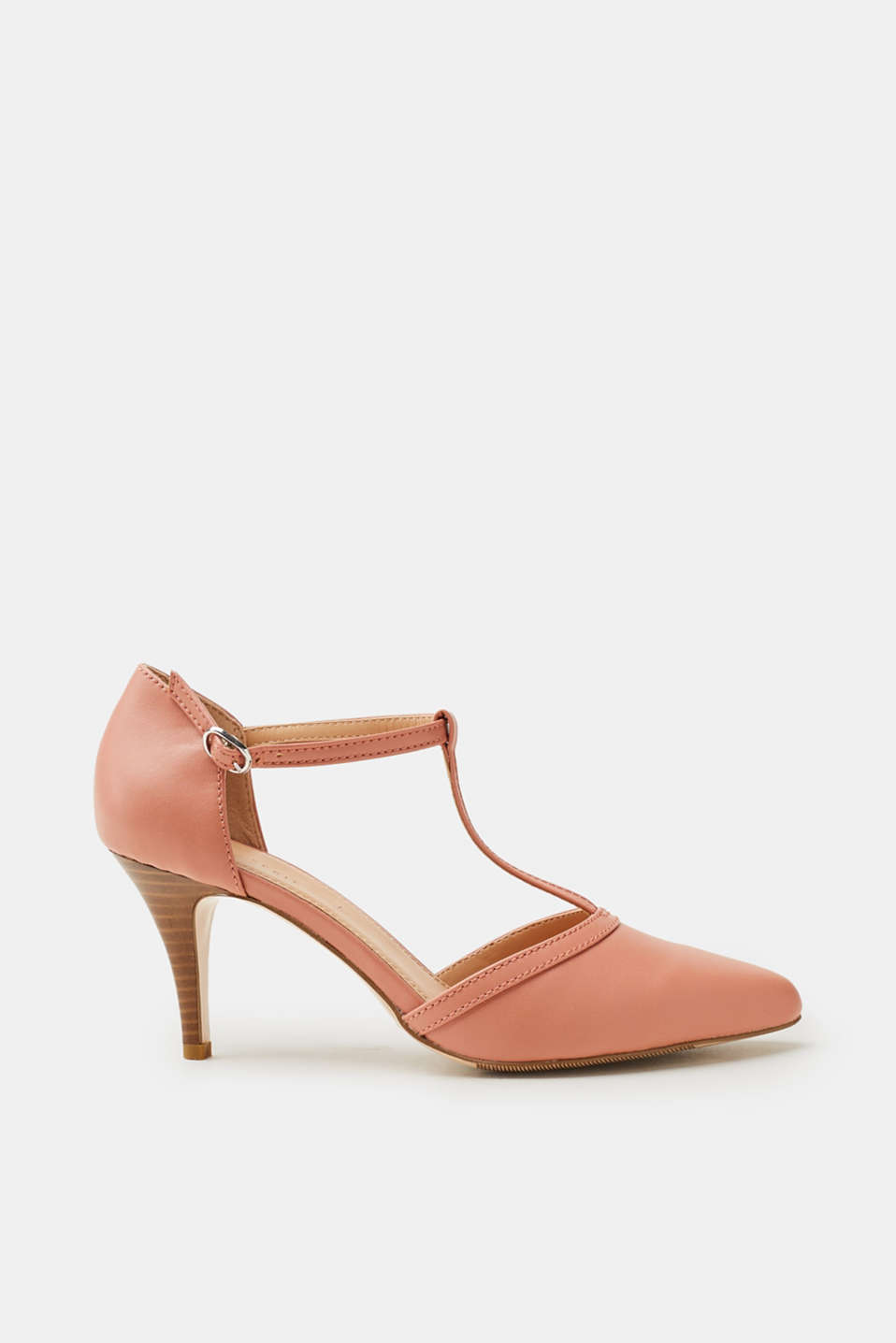 Esprit - T-bar faux leather court shoes