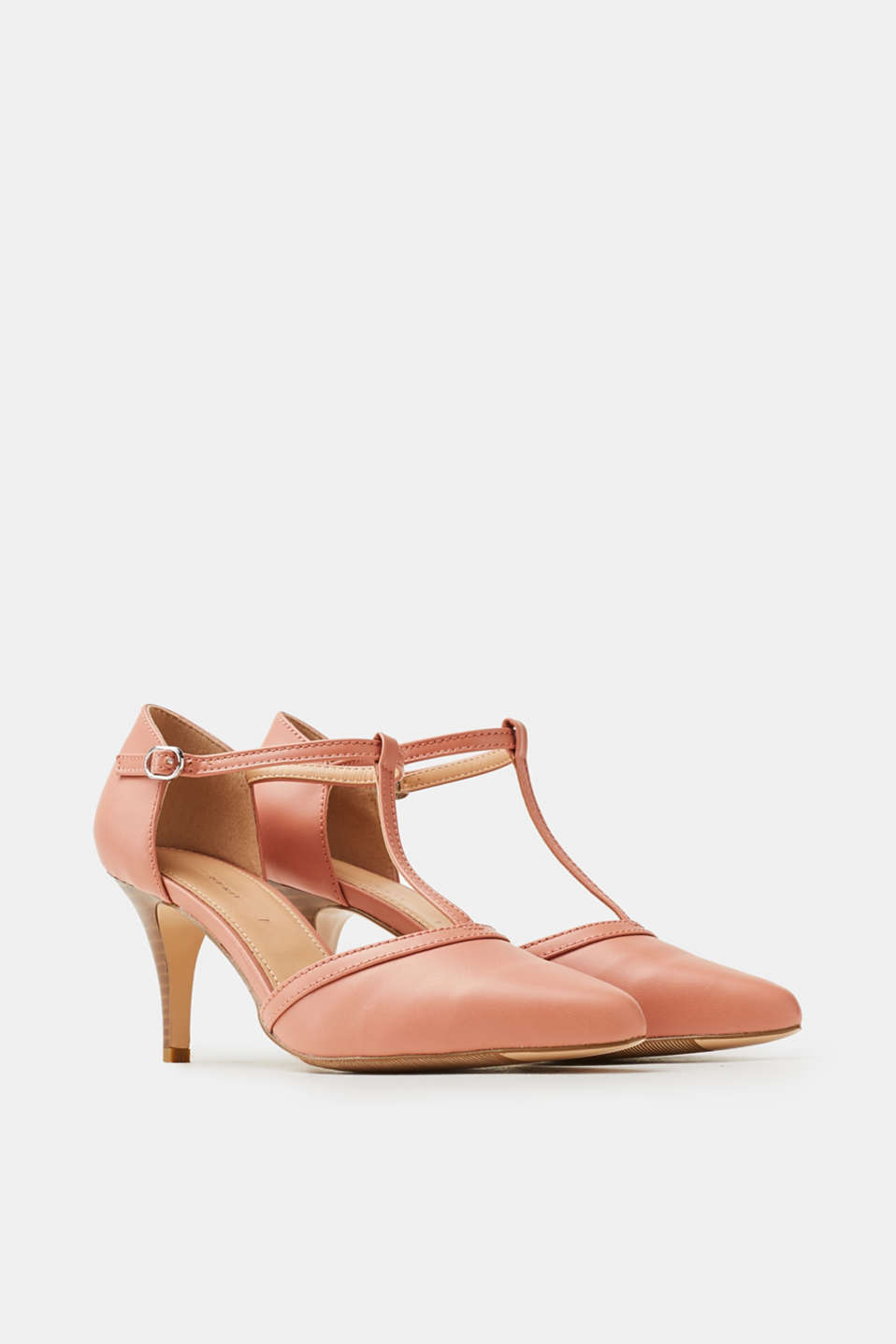 T-bar faux leather court shoes