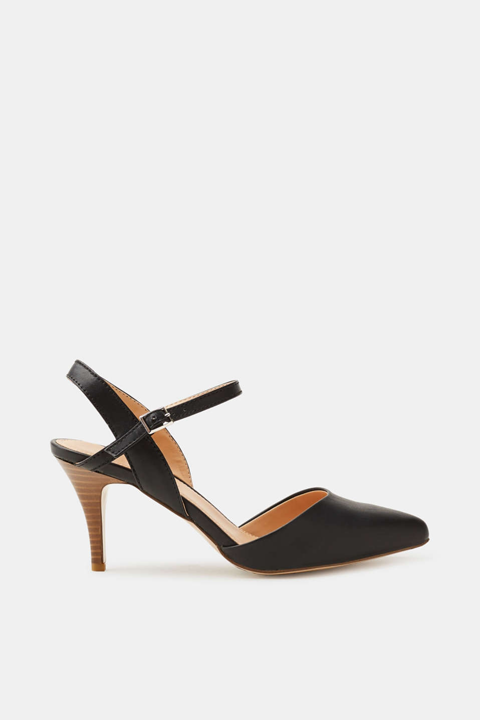 Esprit - Pointed slingback court shoes, faux leather