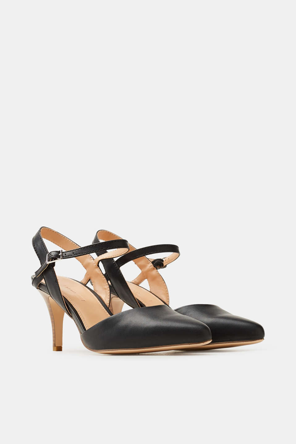 Pointed slingback court shoes, faux leather