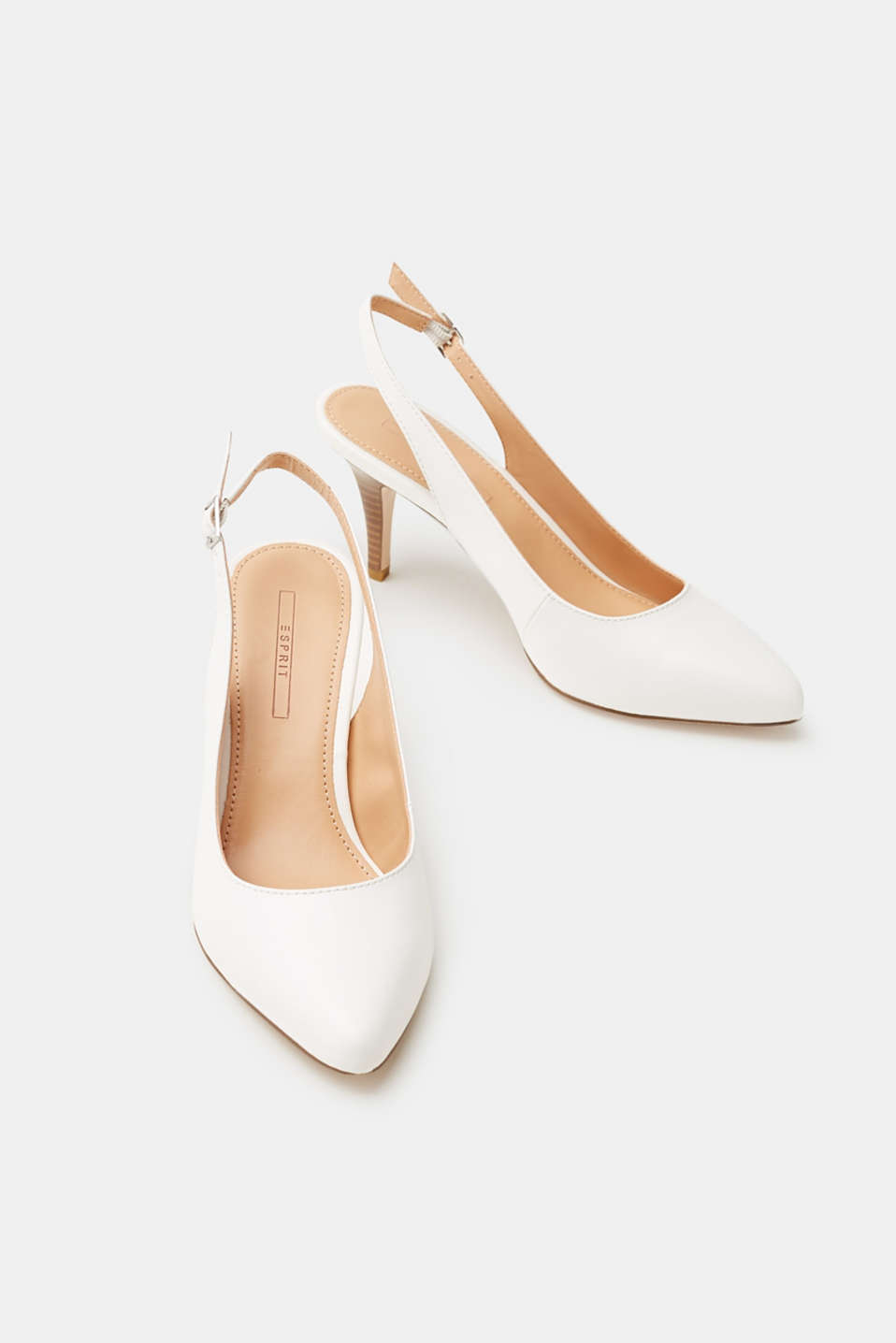 Slingback court shoes in smooth faux leather