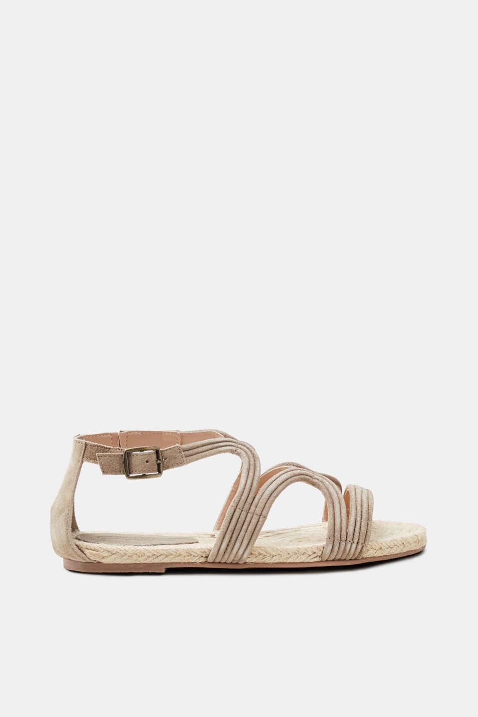 Esprit Sandale mit Bast-Sohle und Leder-Riemen für Damen, Größe 41, Navy