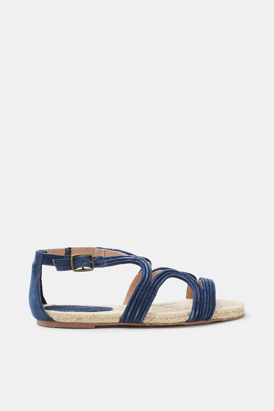 Esprit Sandale mit Bast-Sohle und Leder-Riemen für Damen, Größe 41, Beige