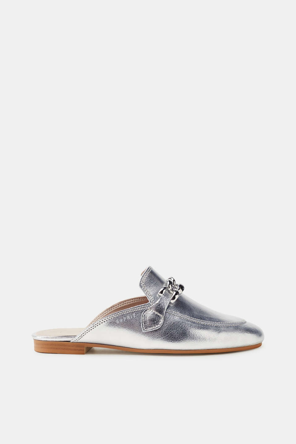 Esprit - Metallic leather slip-ons with a chain detail