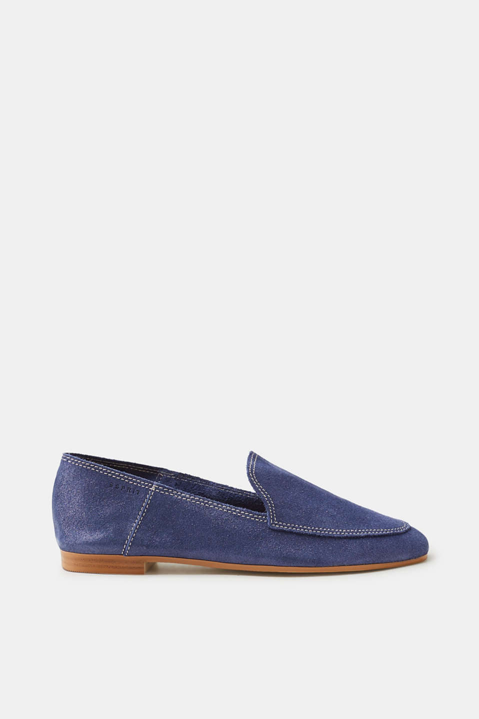 Esprit - Loafers made of brushed-up leather with a glitter finish