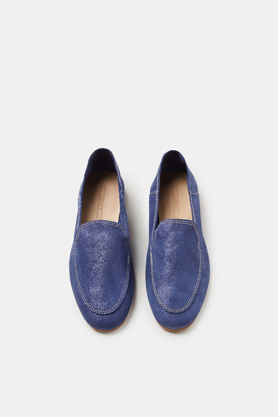 Loafers made of brushed-up leather with a glitter finish
