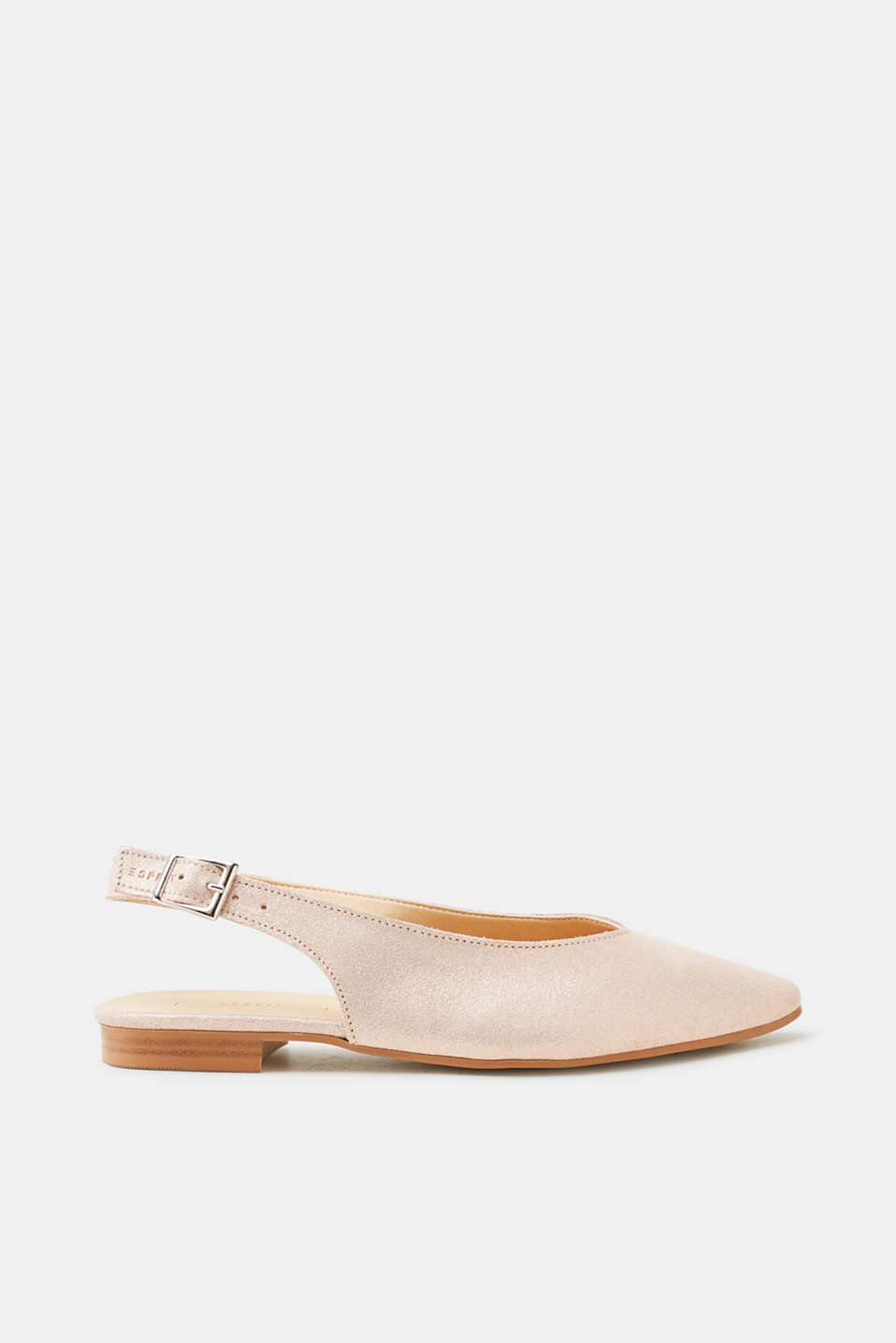 A feminine flat update! Sling back straps give these pointed ballerinas their lightweight yet elegant look.