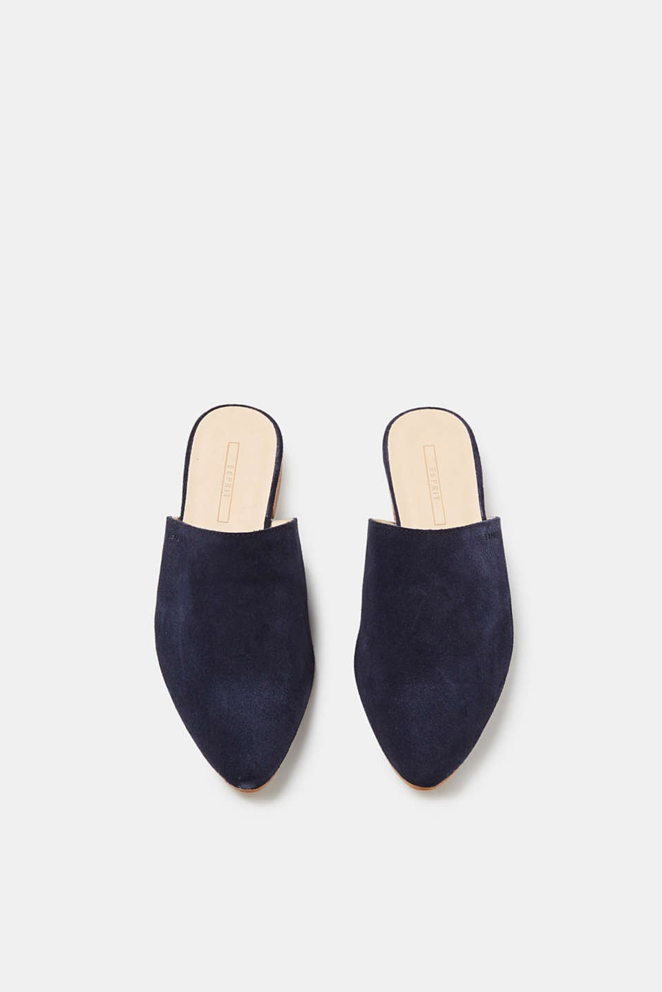 Suede slip-ons with a pointed toe
