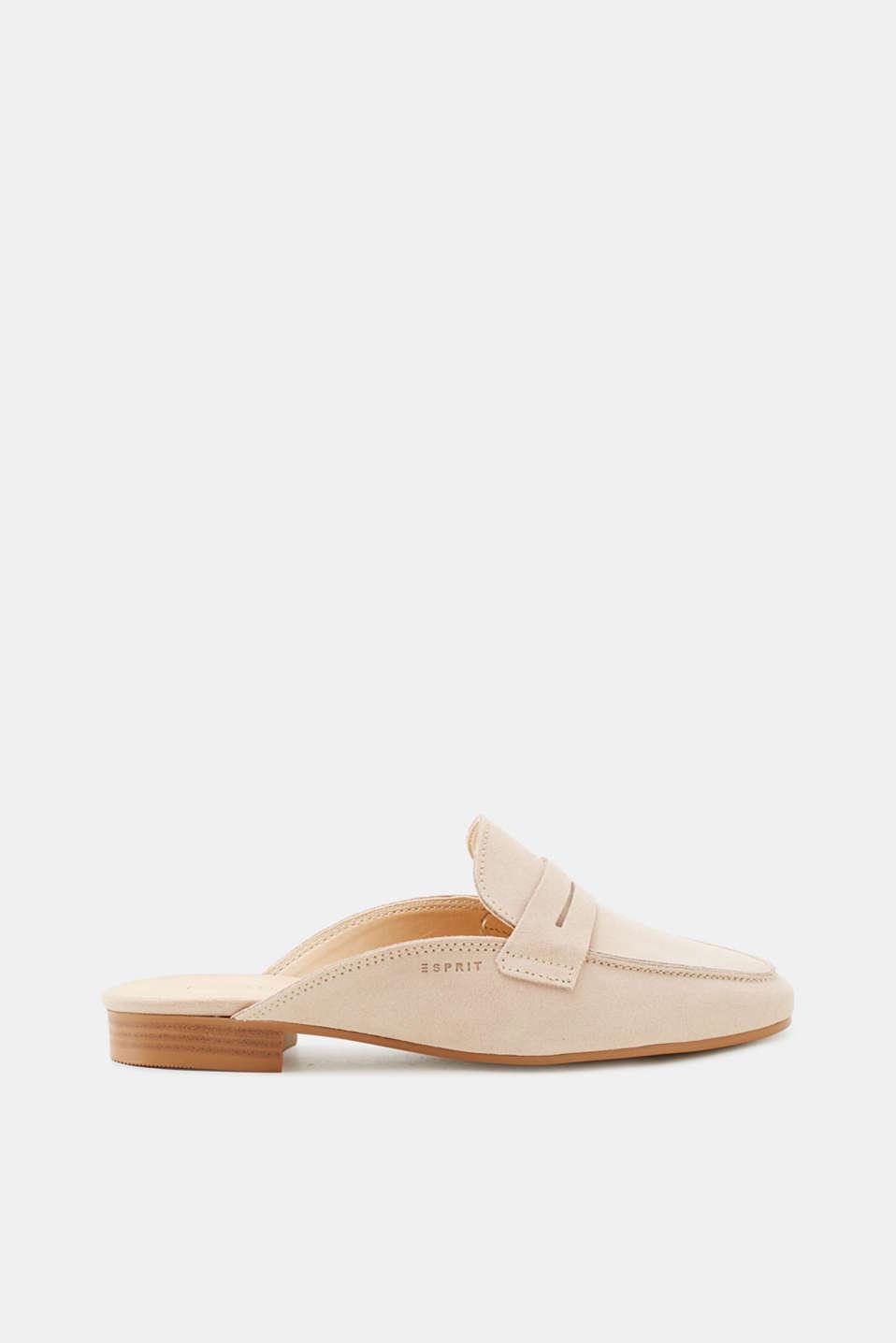 Esprit Veloursleder-Slipper mit markantem Ketten-Detail für Damen, Größe 40, Navy