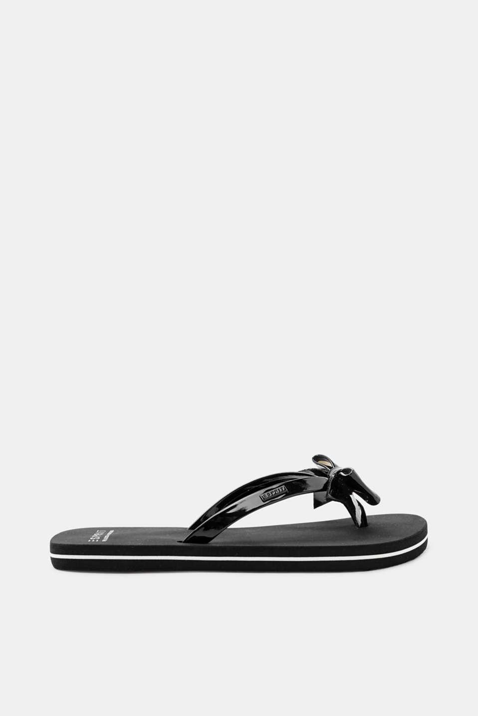Esprit Zehentrenner mit Lack-Riemen und Schleife für Damen, Größe 42, Black
