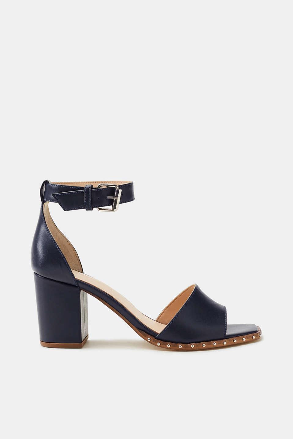 Esprit Leder-Sandalette mit Blockabsatz und Nieten-Dekor für Damen, Größe 40, Navy