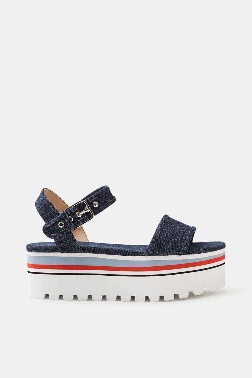 Esprit - Platform sandals in robust denim