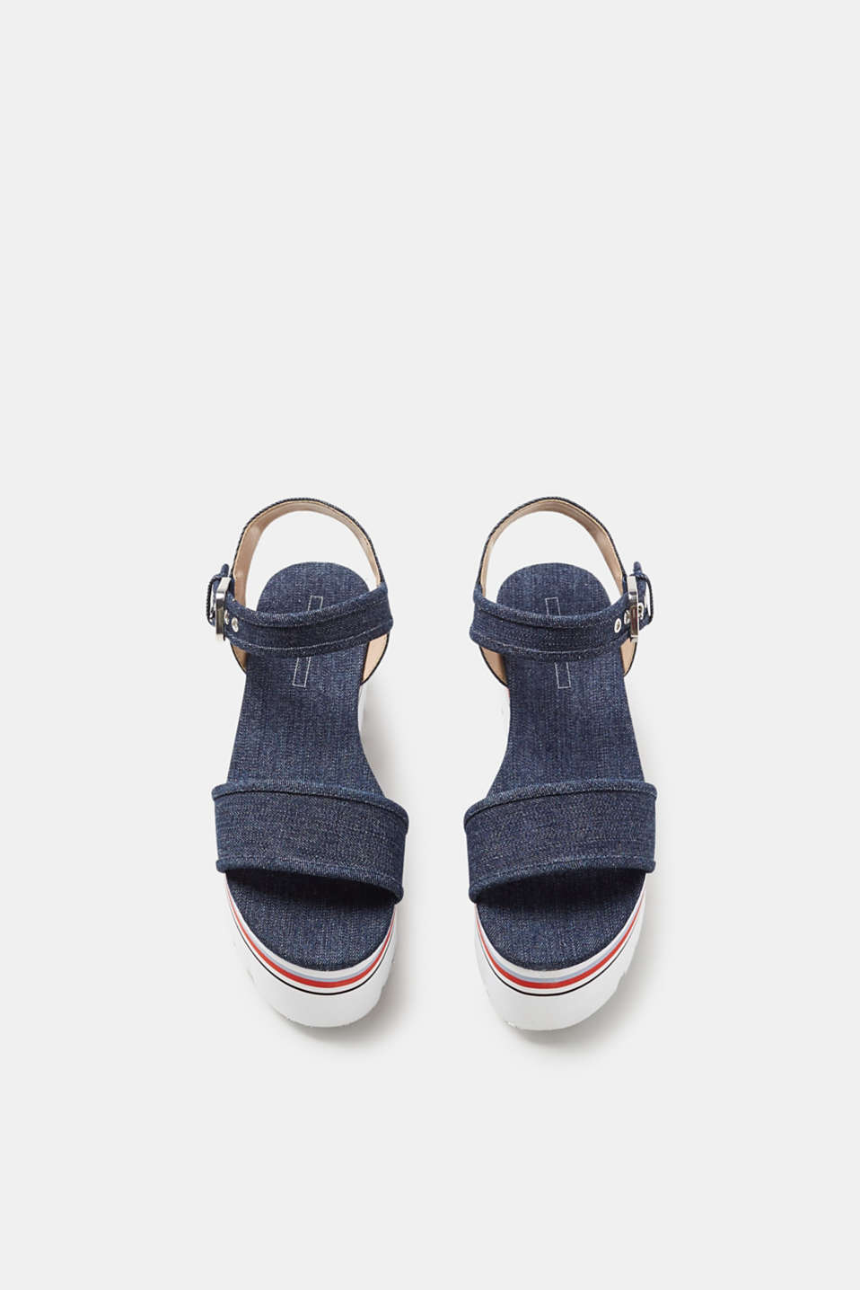 Platform sandals in robust denim
