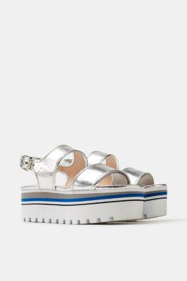 Esprit Elegante Sandalette aus Leder für Damen, Größe 37, Light Blue
