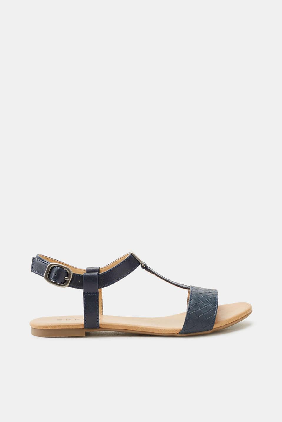 Esprit Flache Sandale mit Fransen-Dekor für Damen, Größe 39, Navy