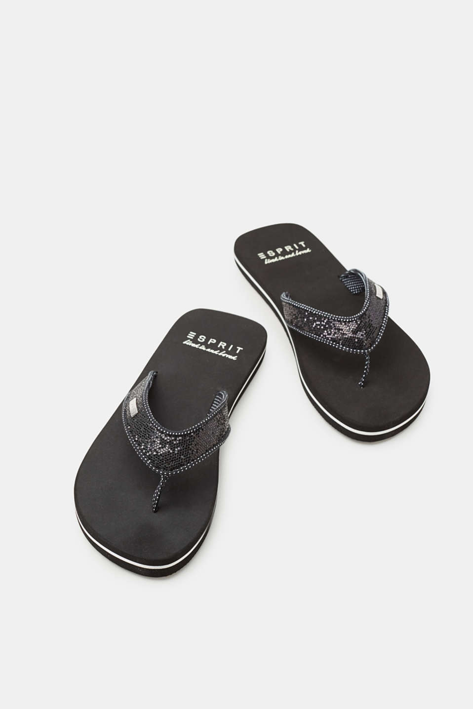 Toe-post sandals with shimmering straps