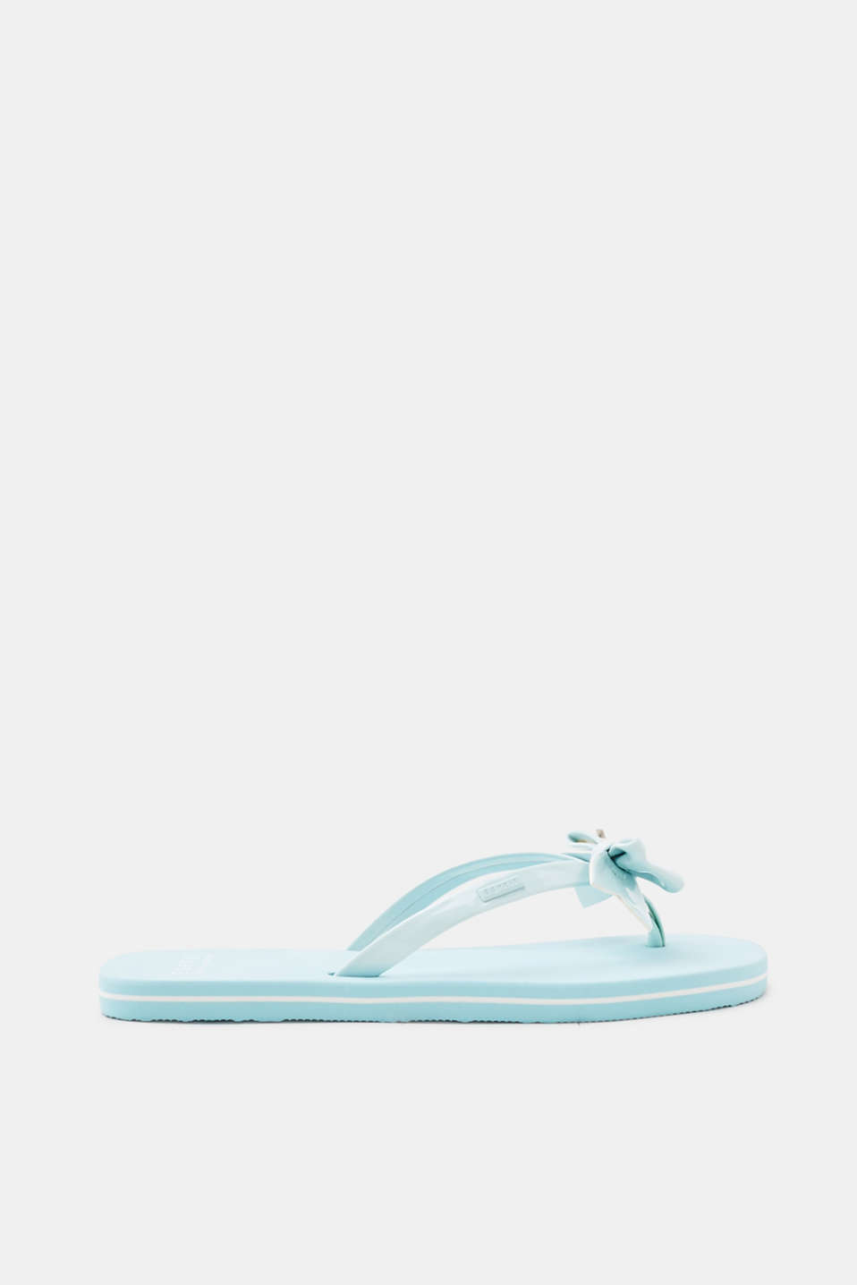 Esprit - Toe-post sandals with patent straps and a bow