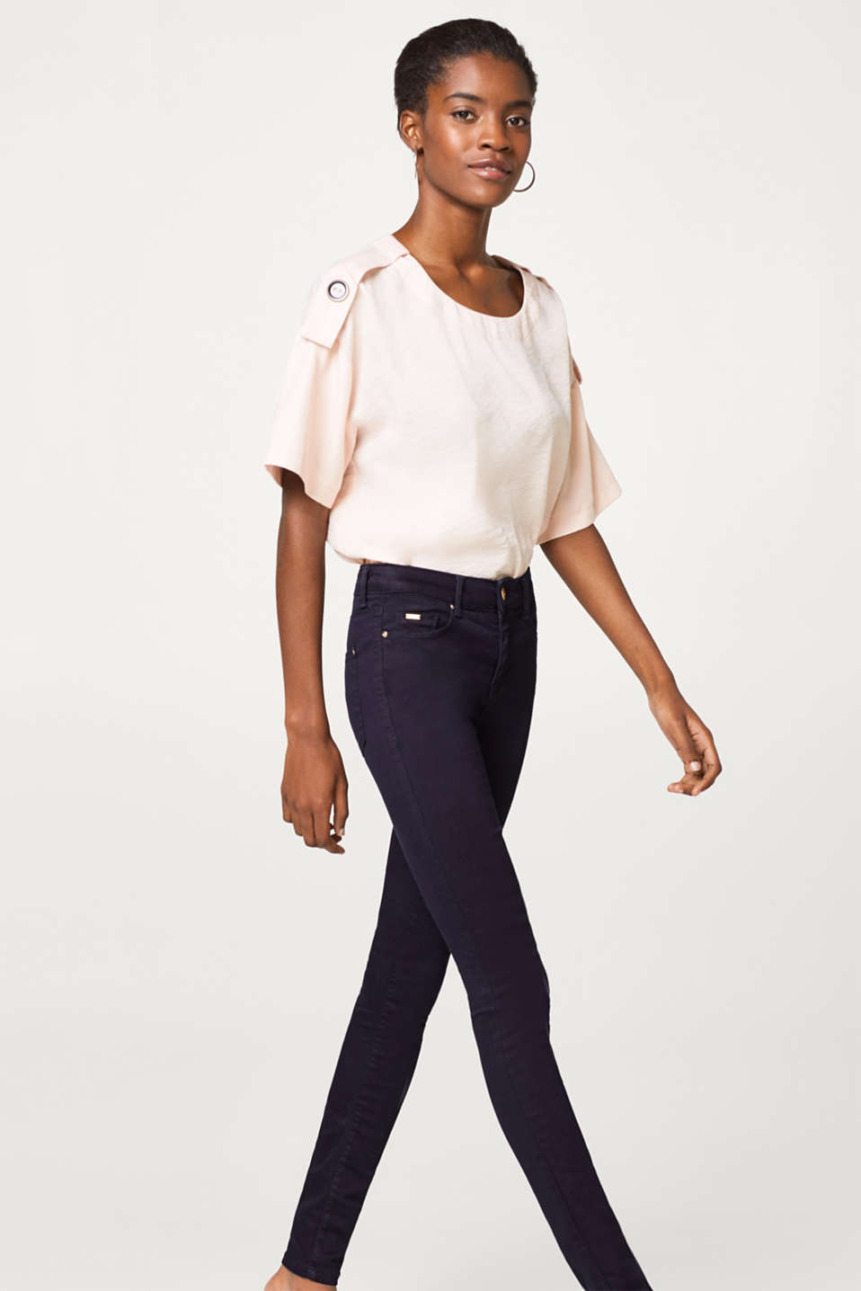 Esprit - Slim fit stretch trousers with elegant details